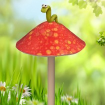 Red Mushroom with Worm - Small